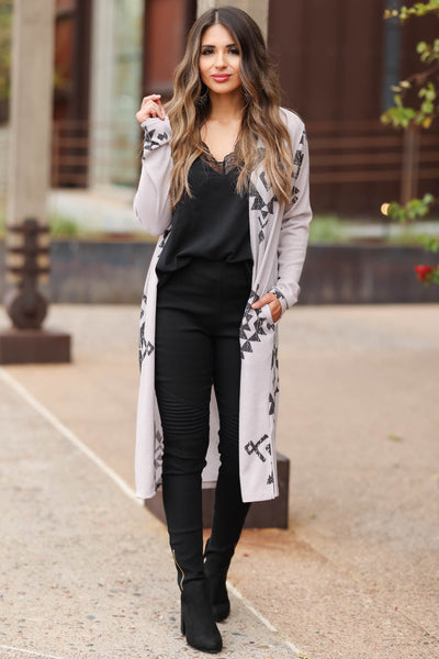Journey To You Duster Cardigan - Light Grey closet candy women's trendy aztec print long cardigan front