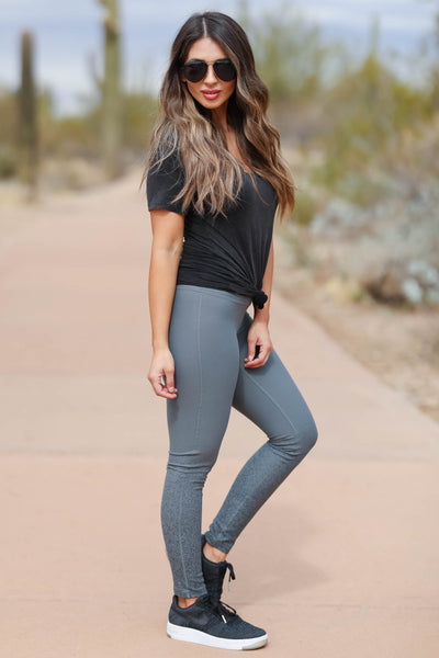 Small Wins High Waisted Leggings - Grey closet candy women's trendy foil design athletic leggings 2