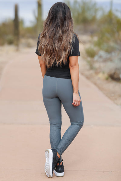 Small Wins High Waisted Leggings - Grey closet candy women's trendy foil design athletic leggings 5