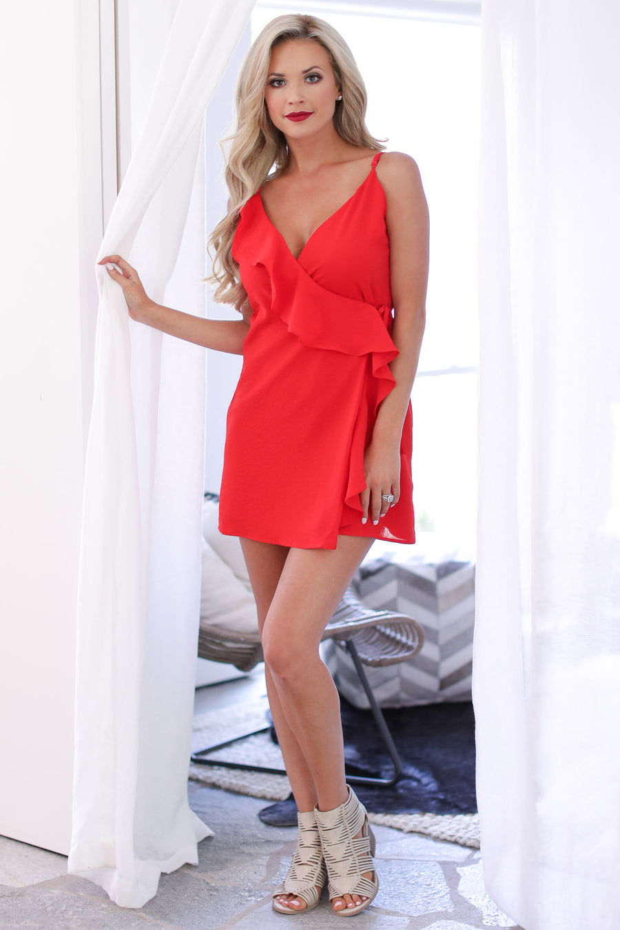 EVERLY Grand Finale Dress - cute red wrap dress, 4th of July outfit, Closet Candy Boutique