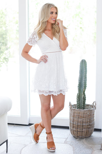 EVERLY Elegance Is Beauty Dress - White v-neck lace dress, front, Closet Candy Boutique