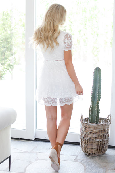 EVERLY Elegance Is Beauty Dress - White v-neck lace dress, back, Closet Candy Boutique