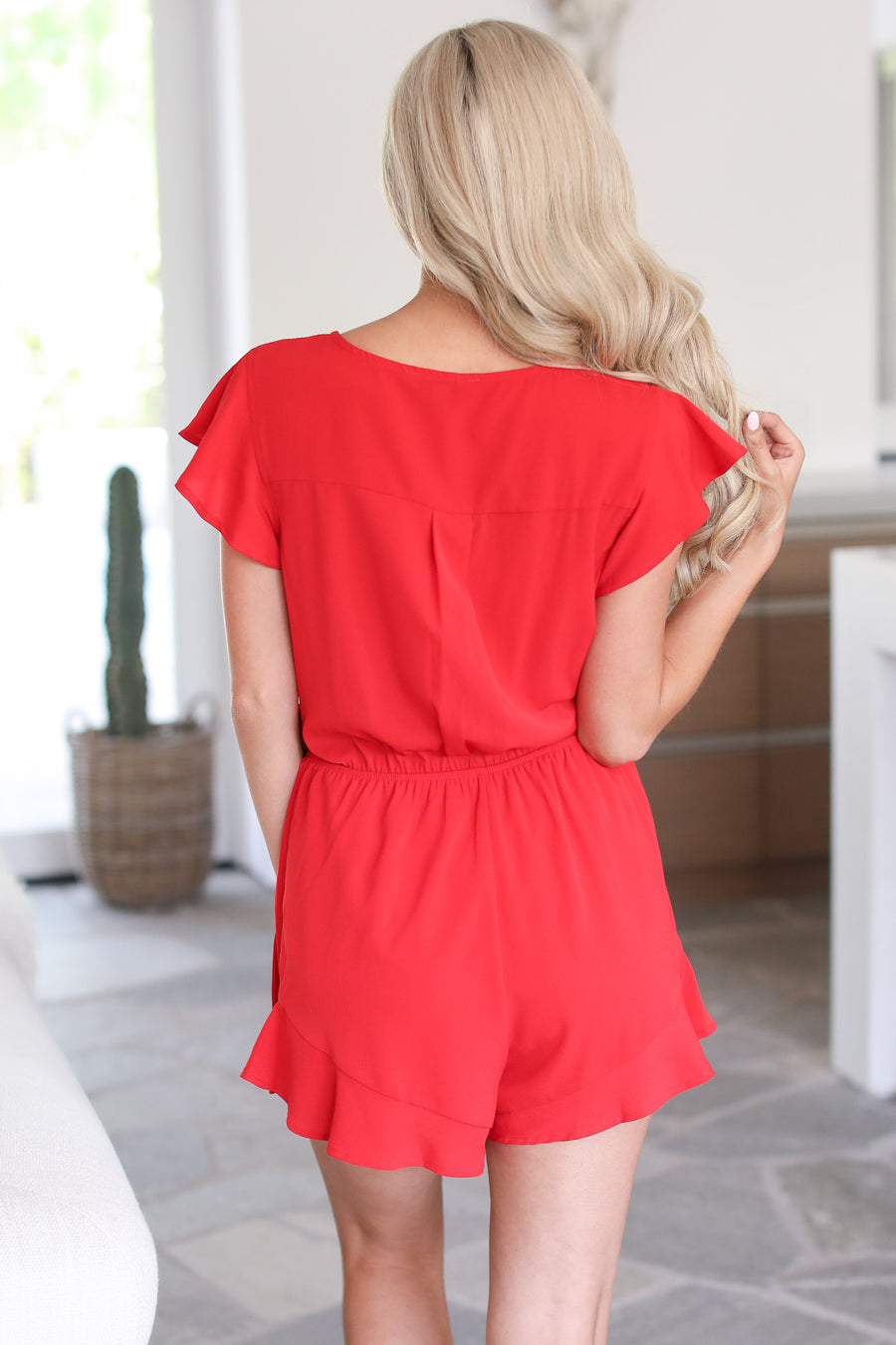 Made in the Shade Romper - red surplice romper, front, Closet Candy Boutique
