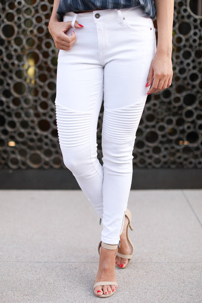 Miss Independent Moto Skinny Jeans - White