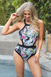 Swept Away Swimsuit - Black printed swimsuit, front, cute swimwear, Closet Candy Boutique