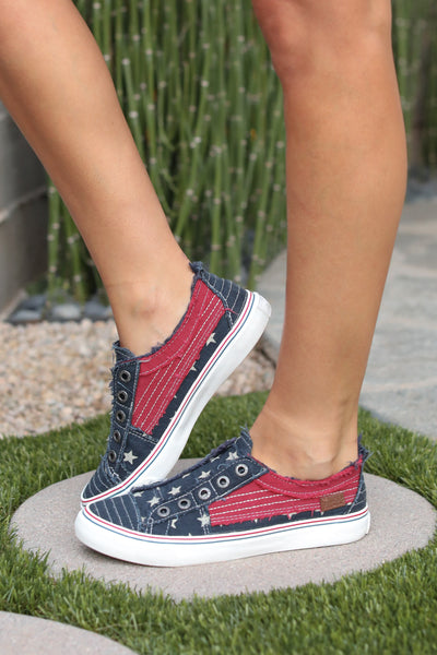 Wherever You Wander Sneakers - Red, White & Blue flag blowfish womens sneakers closet candy