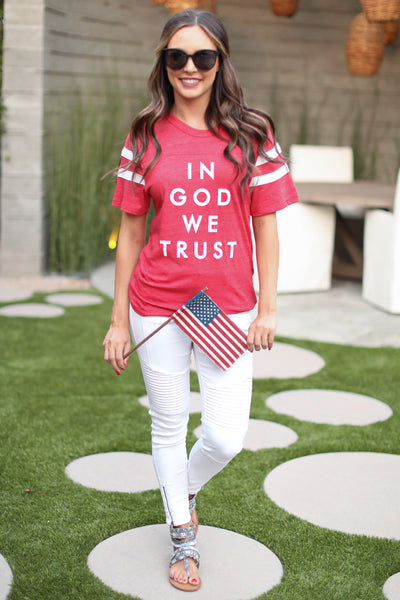 In God We Trust Graphic Tee - Red womens 4th of july shirt closet candy