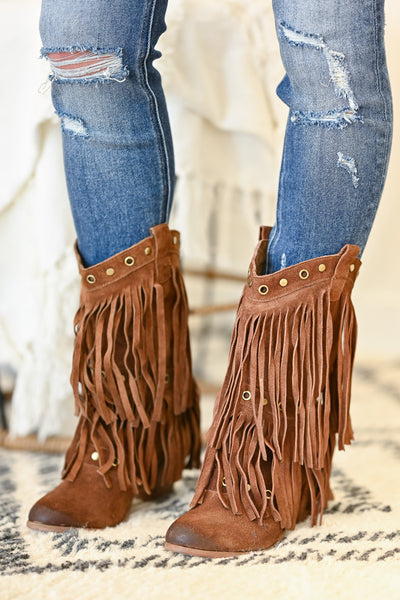 NAUGHTY MONKEY Kickin It Booties - Tan womens fringe booties closet candy side 2