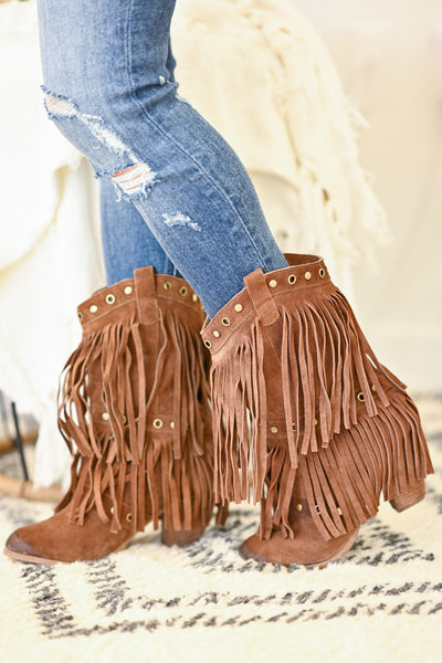 NAUGHTY MONKEY Kickin It Booties - Tan womens fringe booties closet candy side 3