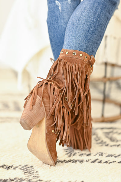 NAUGHTY MONKEY Kickin It Booties - Tan womens fringe booties closet candy back