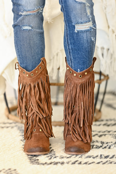 NAUGHTY MONKEY Kickin It Booties - Tan womens fringe booties closet candy front