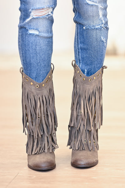 NAUGHTY MONKEY Kickin It Booties - Taupe womens trendy fringe booties closet candy front