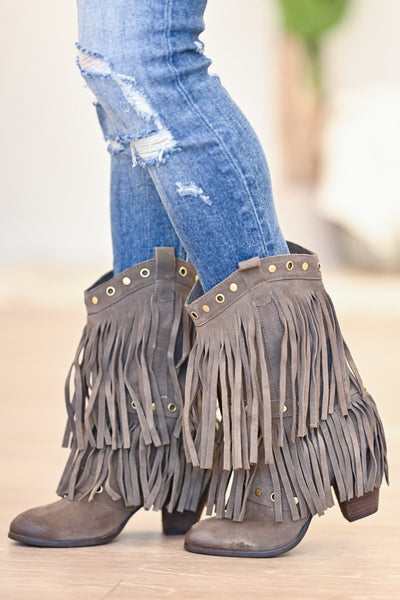 NAUGHTY MONKEY Kickin It Booties - Taupe womens trendy fringe booties closet candy side