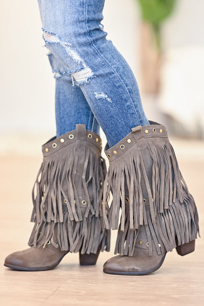 NAUGHTY MONKEY Kickin It Booties - Taupe womens trendy fringe booties closet candy side 2