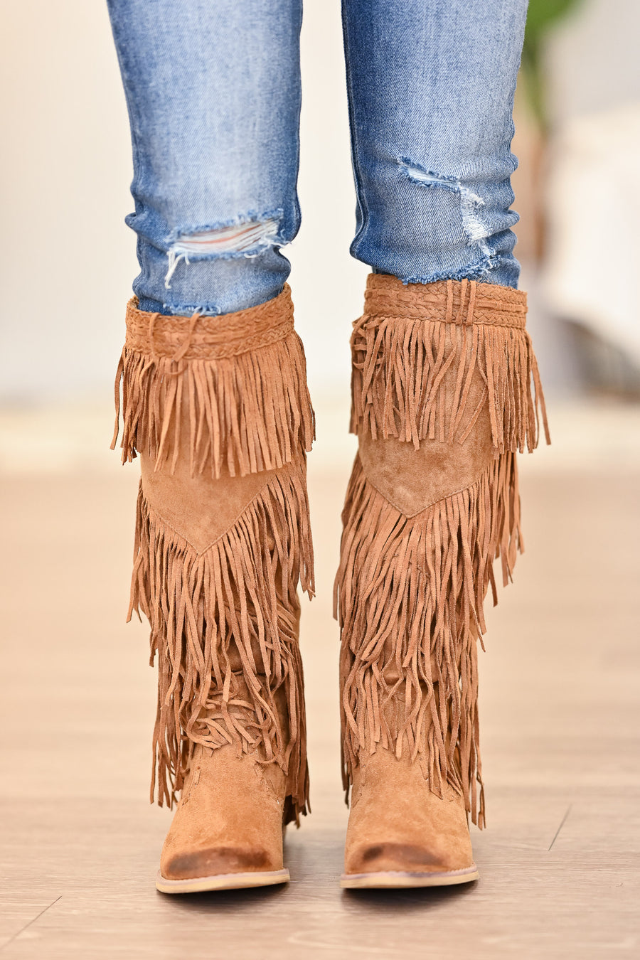 NOT RATED Witty Giddy Boots - Tan womens trendy fringe detail boots closet candy side