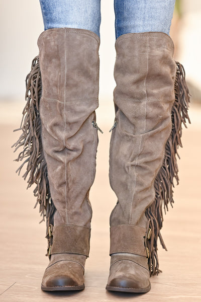 NAUGHTY MONKEY Frilly Fanta Boots - Taupe womens casual fringe boots closet candy front