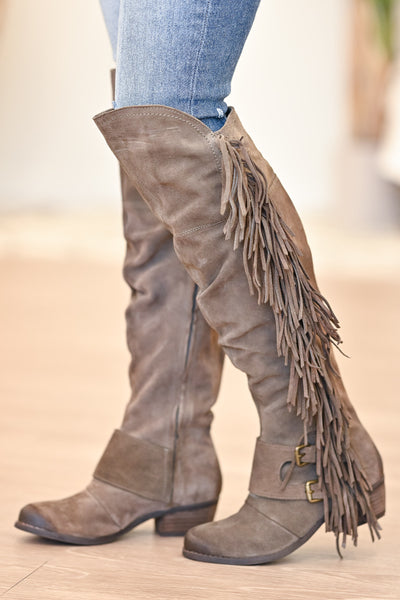 NAUGHTY MONKEY Frilly Fanta Boots - Taupe womens casual fringe boots closet candy side