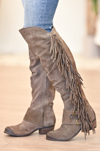 NAUGHTY MONKEY Frilly Fanta Boots - Taupe womens casual fringe boots closet candy side 2