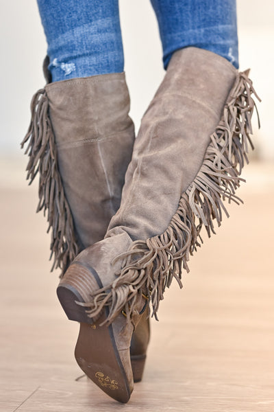 NAUGHTY MONKEY Frilly Fanta Boots - Taupe womens casual fringe boots closet candy back