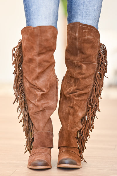 NAUGHTY MONKEY Frilly Fanta Boots - Tan womens trendy fringe detail boots closet candy front