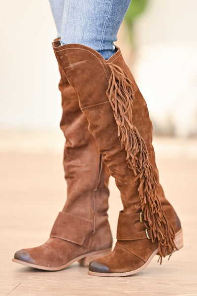 NAUGHTY MONKEY Frilly Fanta Boots - Tan womens trendy fringe detail boots closet candy side 2