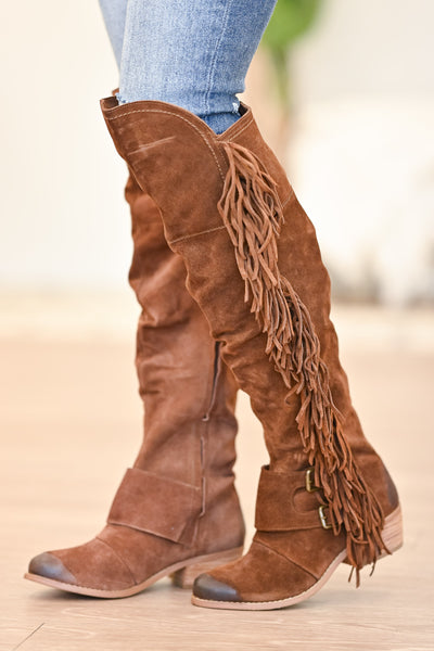 NAUGHTY MONKEY Frilly Fanta Boots - Tan womens trendy fringe detail boots closet candy side