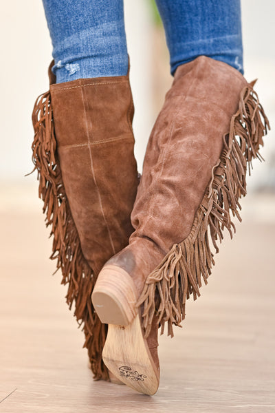 NAUGHTY MONKEY Frilly Fanta Boots - Tan womens trendy fringe detail boots closet candy back