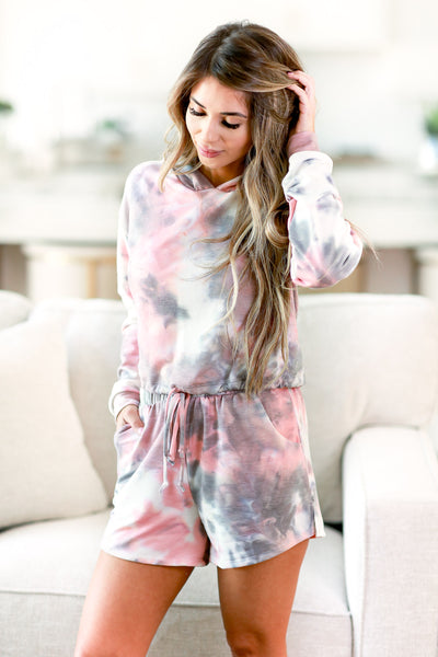 Happy At Home Tie Dye Loungewear - Pink womens trendy tie dye two piece lounge set closet candy front 2