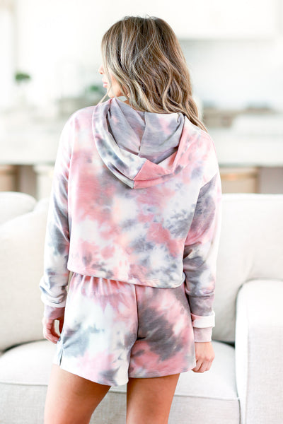 Happy At Home Tie Dye Loungewear - Pink womens trendy tie dye two piece lounge set closet candy back