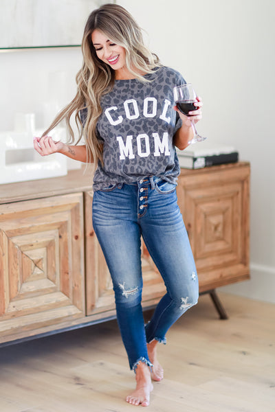 Cool Mom Leopard Graphic Tee - Charcoal womens casual graphic tee leopard print closet candy front