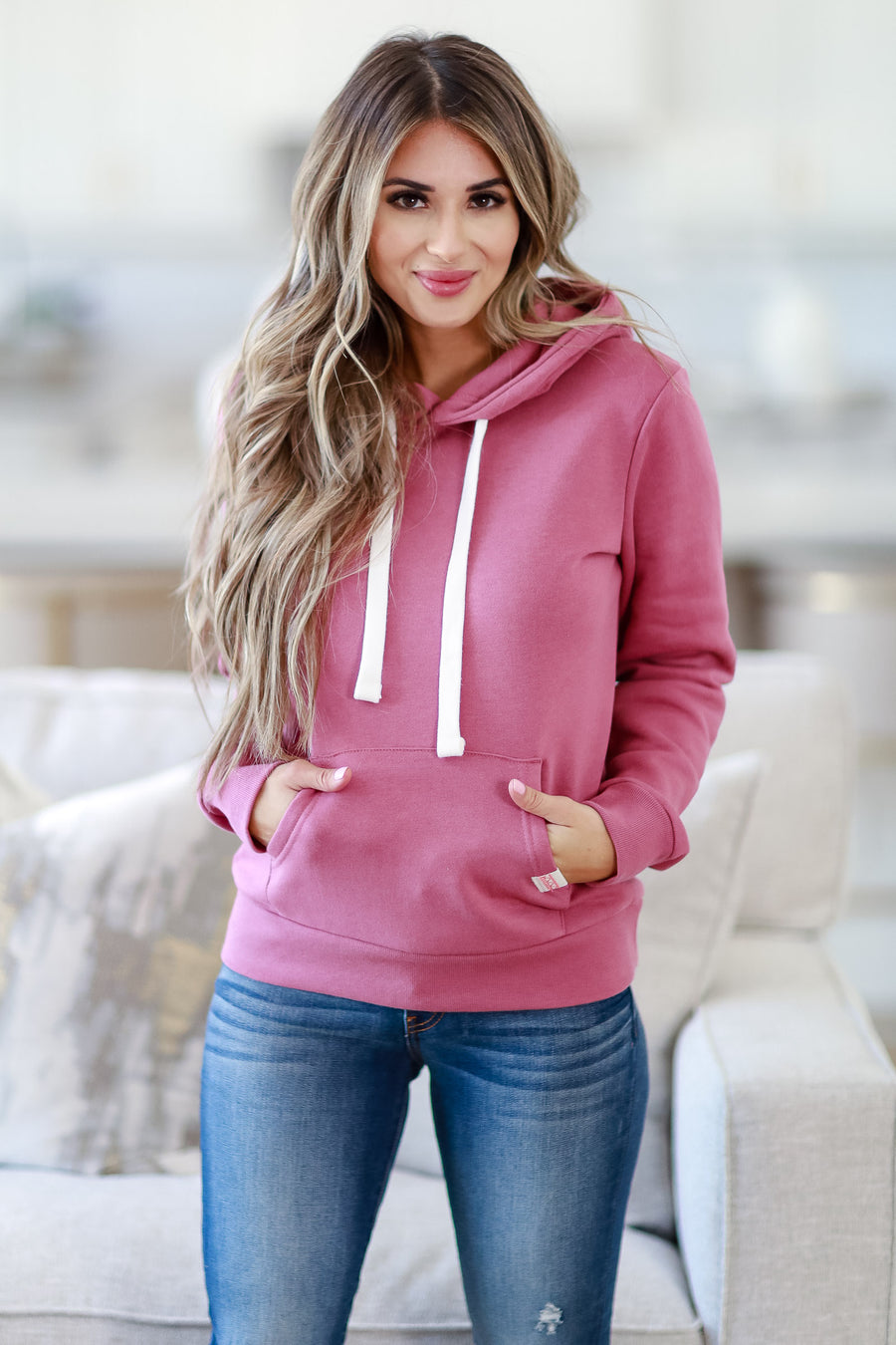 Make Yourself At Home Hoodie - Rose womens casual hooded pocket front sweatshirt closet candy sitting