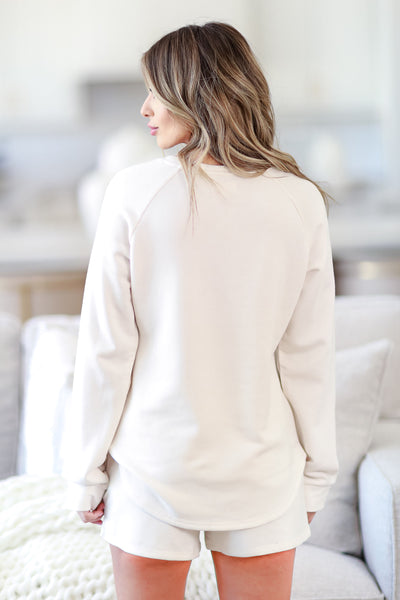 THREAD & SUPPLY Unwind Lounge Top - Ivory womens casual super soft lounge top closet candy back