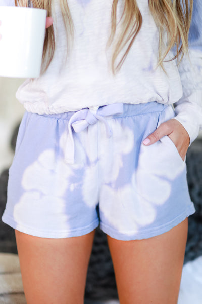 Happiness Goes On Tie Dye Loungewear - Lavender womens casual tie dye lounge set closet candy shorts