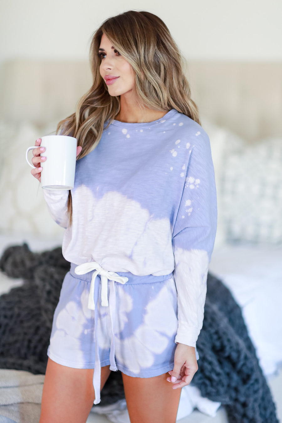 Happiness Goes On Tie Dye Loungewear - Lavender womens casual tie dye lounge set closet candy front