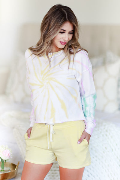 Morning Sun Tie Dye Lounge Top - Ivory Multi womens trendy tie dye cropped fit long sleeve top closet candy front