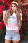 Good Vibes Only Tee - White womens casual short sleeve rainbow tee closet candy front 2