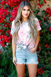 Do You Believe Tie Dye Top - Coral womens casual short sleeve tie dye top closet candy front