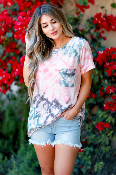 Do You Believe Tie Dye Top - Coral womens casual short sleeve tie dye top closet candy front 2