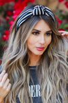 Kelly Striped Top Knot Headband - Black & White womens trendy top knot striped detail headband closet candy front