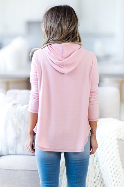 Cozy Mornings Tie Dye Hoodie Top - Blush womens casual tie dye long sleeve hoodie closet candy back