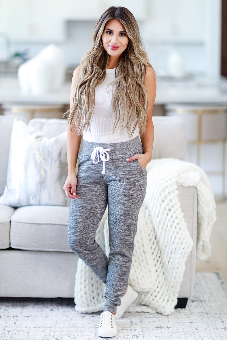 Make Yourself At Home Joggers - Marled Grey womens trendy drawstring pocketed sweatpants closet candy side