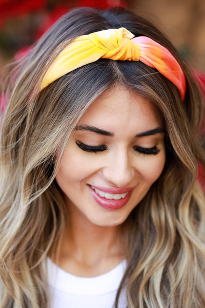 Holly Tie Dye Headband - Pink & Orange womens trendy tie dye top knot velvet headband closet candy front 2