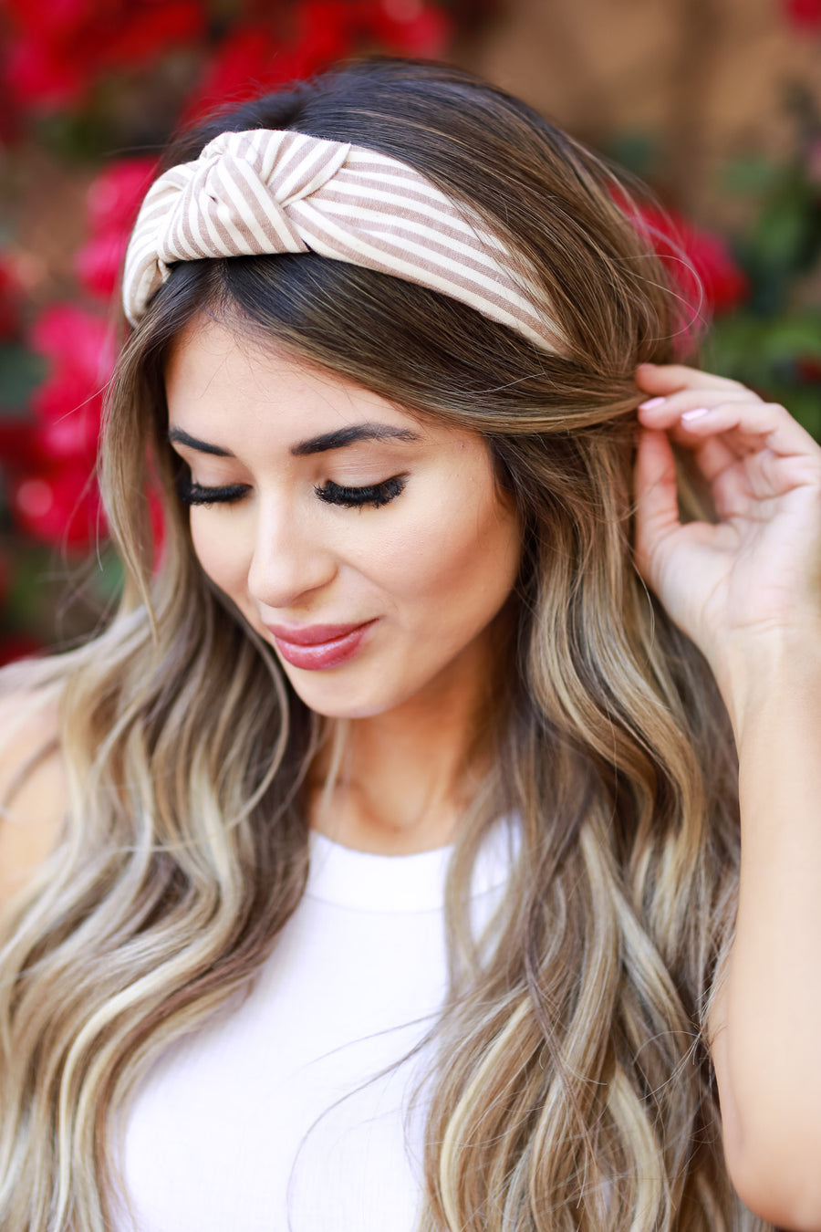 Kelly Striped Top Knot Headband - Tan womens trendy striped top knot comfortable headband closet candy front
