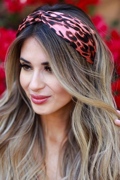 Angie Leopard Headband - Pink womens trendy leopard detail headband closet candy front