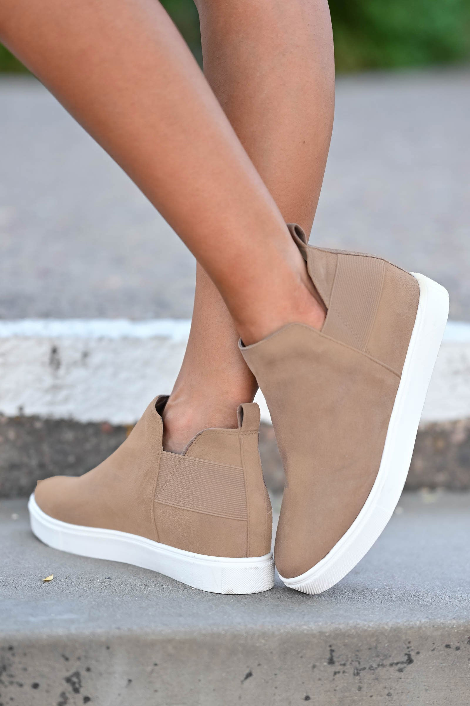 Gone For Now Sneakers - Taupe closet candy women's trendy wedge sneakers 1
