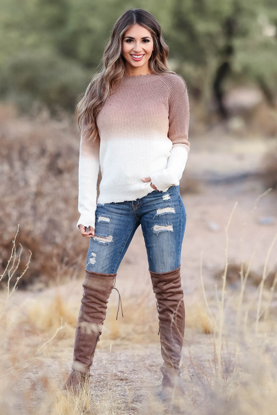 CBRAND Be The Light Distressed Sweater - Mocha womens trendy dip dye knit sweater closet candy front