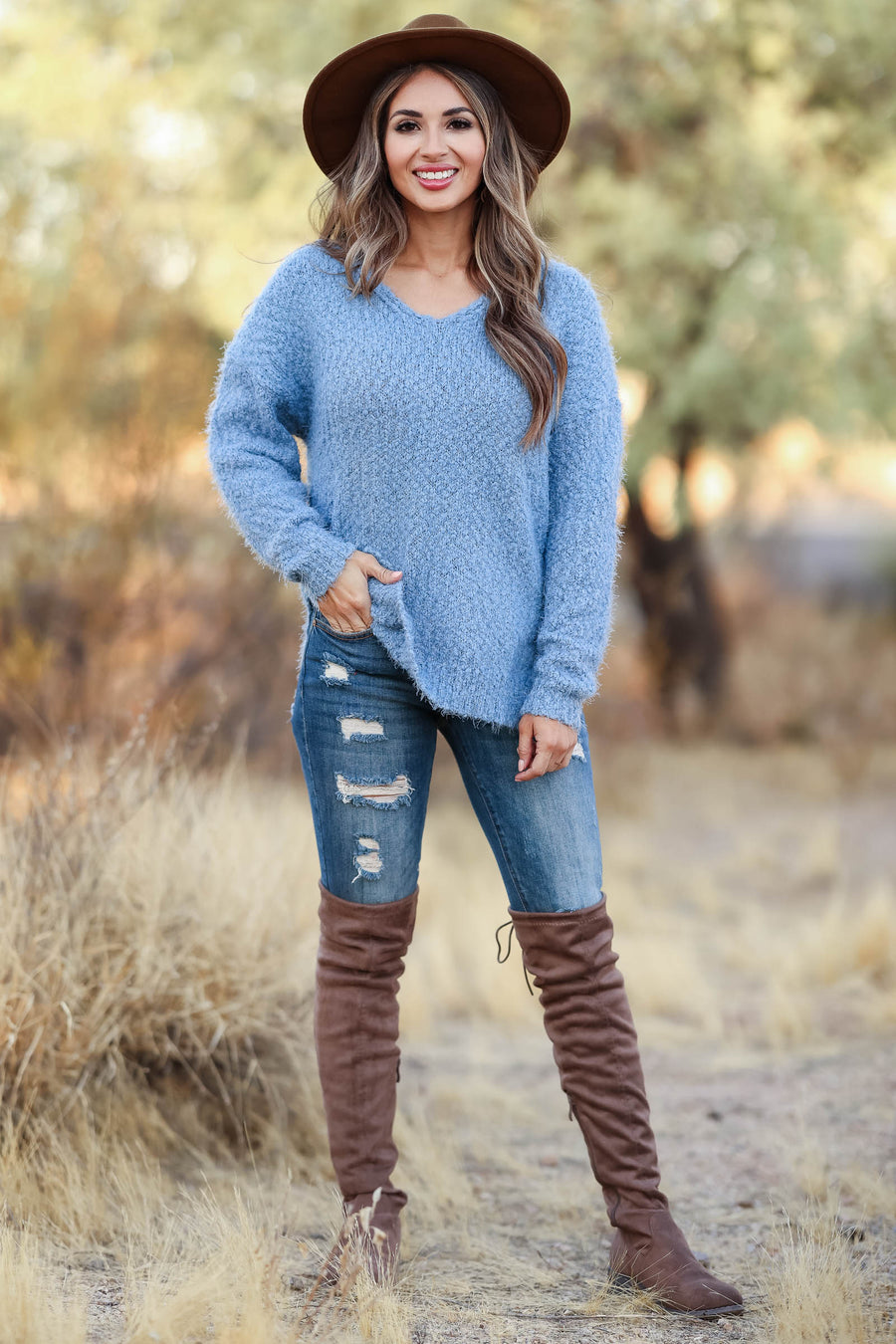 Cabin Getaway Popcorn Sweater - Dusty Blue womens trendy fuzzy v neck popcorn sweater closet candy front
