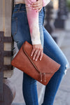 Jessica Vegan Leather Clutch - Tan womens trendy envelope clutch with zipper closet candy front