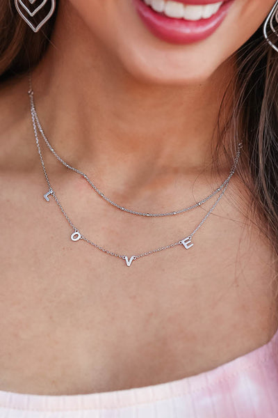"""LOVE"" Layered Necklace - Silver womens trendy necklace closet candy front"