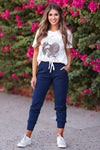 CBRAND At Peace Joggers - Navy womens trendy adjustable drawstring joggers closet candy front